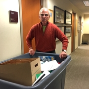 Professor Robert Goldman cleaning out his office